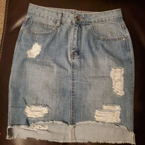Distressed High Waisted Jean Skirt